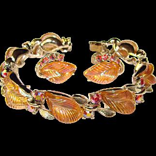 Fabulous LISNER Pink Glass Leaf & Aurora Rhinestone Bracelet Set