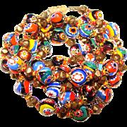 Fabulous Millefiori & Bronze Finish Glass Bead Vintage Necklace