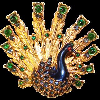 Fabulous Fancy Jeweled Rhinestone PEACOCK Brooch