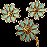 Gorgeous TRIFARI Vintage Poured Glass Aqua Petals Flower Brooch Set