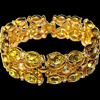 Fabulous TRIFARI Jonquil Oval Rhinestones Vintage Bracelet