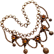 Fabulous FESTOON Amber Rhinestone Vintage Necklace - 1940s Book Chain