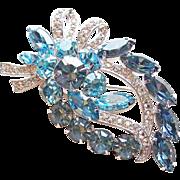 Fabulous EISENBERG ICE Signed Blue Rhinestone Vintage Brooch
