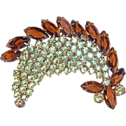 Fabulous Brown & Yellow Rhinestone Vintage Brooch - Autumn Fall Colors