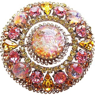 Fabulous Foil Glass & Rhinestone Vintage Austria  Brooch - Pink Yellow Amber with Hint of Dragons Breath