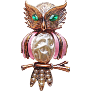 Awesome OWL Figural Vintage Brooch with Faux Pearl Belly