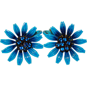Awesome 1960s Flower Power BLUE Enamel Rhinestone Vintage Earrings