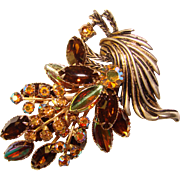 Fabulous AUTUMN Colors Vintage Rhinestone Brooch