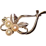 Gorgeous STERLING Cultured Pearl Vintage Pin Brooch