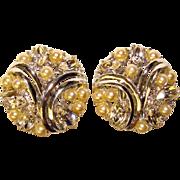 Gorgeous COROCRAFT Vintage Faux Pearl & Rhinestone Clip Earrings