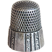 Antique Sterling SIMON BROS Sewing Thimble - Size 9 Victorian Era