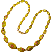 Fabulous Yellow Art Glass Beads Vintage Estate Necklace - Flower Designs in Glass