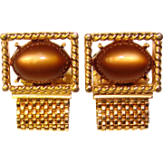 Awesome MOONGLOW Lucite Brown Colored Stones Wrap Cufflinks