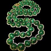 Gorgeous Green MALACHITE Beads Estate Necklace