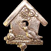 Sweet STERLING Silver Birdhouse Design Estate Brooch