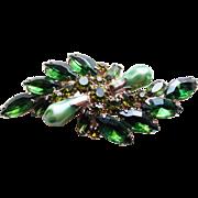 Gorgeous Green Rhinestone & Faux Green Pearls Vintage Brooch