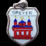 800 Silver & Enamel Speyer Vintage Estate Charm - Souvenir of Germany