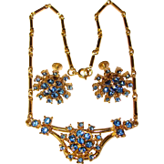 Gorgeous CORO Blue Rhinestone Vintage Necklace & Earrings Set
