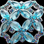 Gorgeous Aqua & Blue Aurora Rhinestone Vintage Brooch - Open Backed Stones
