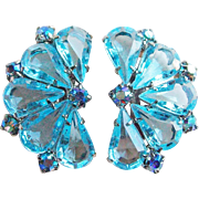 Aqua & Blue Aurora Rhinestone Vintage Estate Earrings - Open Backed Stones