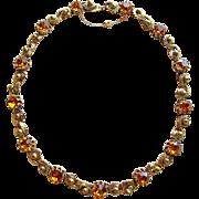 Fabulous Amber Rhinestone Vintage Necklace - Perfect for Autumn Fall Season