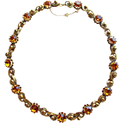 Fabulous Amber Rhinestone Vintage Necklace - Perfect for Autumn Fall Season