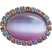 Gorgeous Lavender Satin Glass & Rhinestone Vintage Brooch