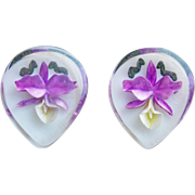Reverse Carved Lucite Orchid Vintage Estate Earrings - Purple Yellow