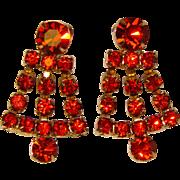 Fabulous ORANGE RHINESTONE Vintage Dangle Clip Earrings