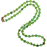 Fabulous GREEN Aurora Crystal Vintage Necklace