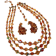 Fabulous Topaz Aurora Crystal 3 Strand Vintage Necklace Set
