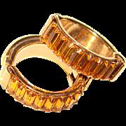 Gorgeous AMBER Baguette Rhinestone Vintage Hoop Clip Earrings
