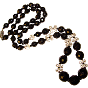 Gorgeous ART DECO Era Faceted Black & Crystal Beads Necklace