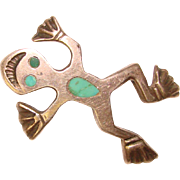 Awesome STERLING Smiling FROG Vintage Turquoise Inlay Brooch