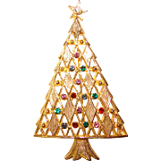 Gorgeous CHRISTMAS TREE Vintage Rhinestone Brooch