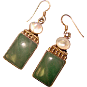 Gorgeous STERLING Green Stone & Mother of Pearl Dangle Earrings