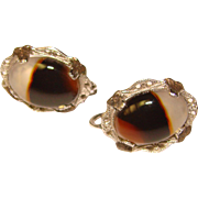 Fabulous STERLING & AGATE Special Signed Vintage Earrings