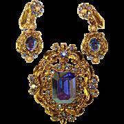 Fabulous Vintage BLUE AURORA Rhinestone Brooch Set