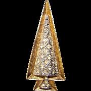 Fabulous Mid Century Mod Rhinestone CHRISTMAS TREE Brooch