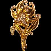 Fabulous TRIFARI Vintage Rhinestone Daffodil Brooch