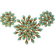Awesome Turquoise Colored Unique Shape Stones Brooch Set