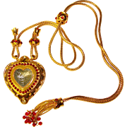 Fabulous Elizabeth Taylor for Avon Shah Jehan Heart Pendant Slide Necklace