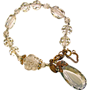 Fabulous MIRIAM HASKELL Faceted Crystal Drop Estate Bracelet