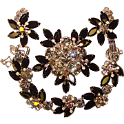 Fabulous D&E JULIANA Smoke Black & Aurora Rhinestone Vintage Set