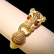 Fabulous WHITE PANTHER Design Vintage Rhinestone Cuff Bracelet