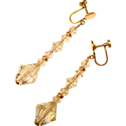Gorgeous ART DECO Era Faceted Crystal Dangle Earrings