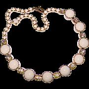 Gorgeous MILK GLASS & Aurora Rhinestone Vintage Necklace