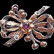 Signed HOBÉ STERLING Purple Stone Vintage Brooch - As Found - Bow Shape STERLING & 14K Gold
