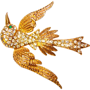 Fabulous 1940's Rhinestone BIRD Figural Brooch