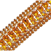 """Fabulous AMBER RHINESTONE Very Wide Vintage Bracelet - Autumn Fall or Holiday Colors - 1 3/8"""" Wide"""